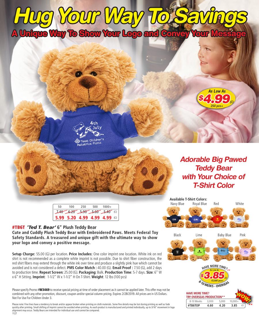 TB6T  -Ted T. Bear- Plush Teddy Bear with Choice of T-Shirt Color