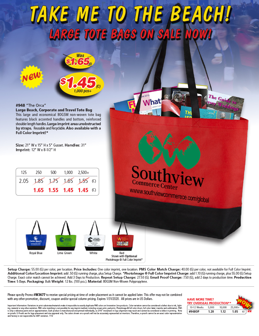 948 Large Beach, Corporate and Travel Tote Bag