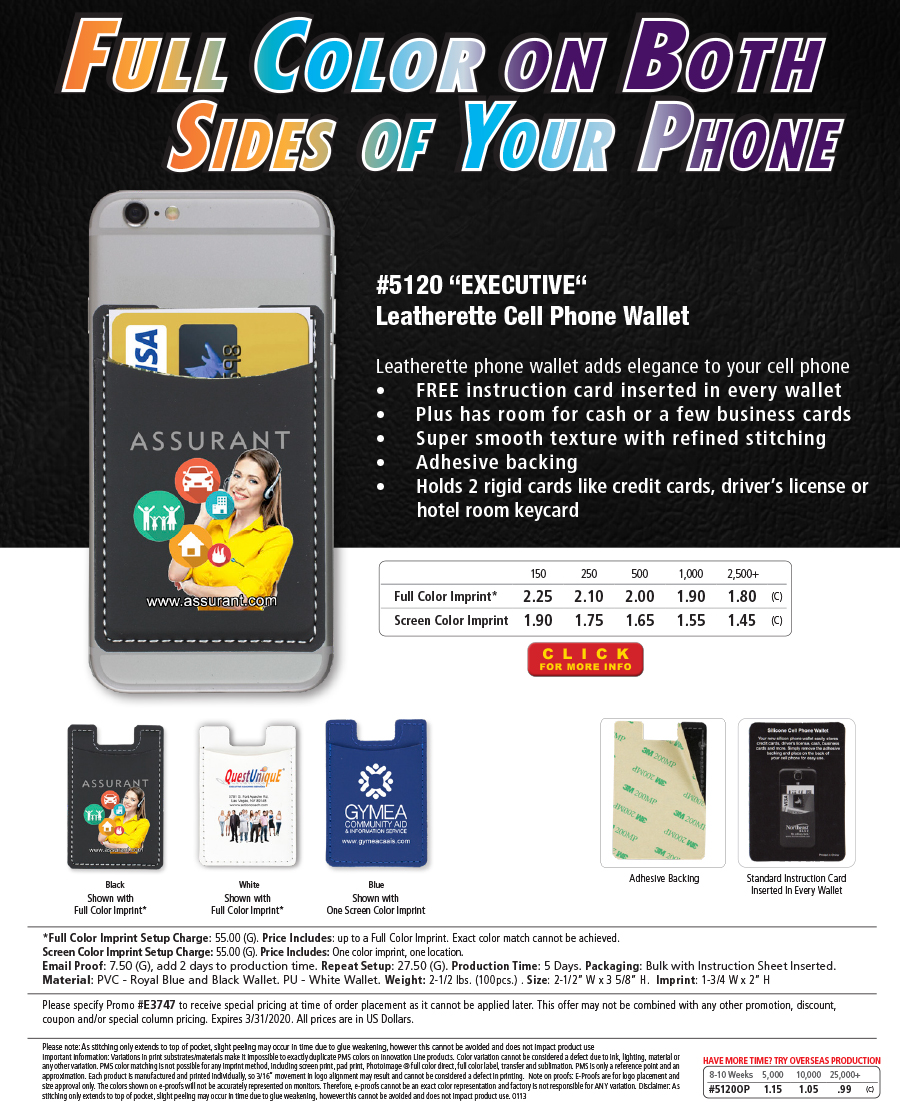 5120 - Executive - Leatherette Cell Phone Wallet