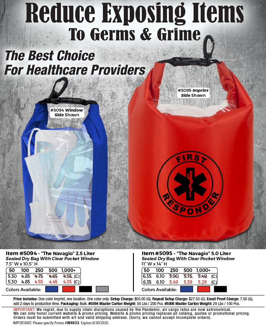 5094 5095 Water Resistant Dry Bag With Clear Pocket Window