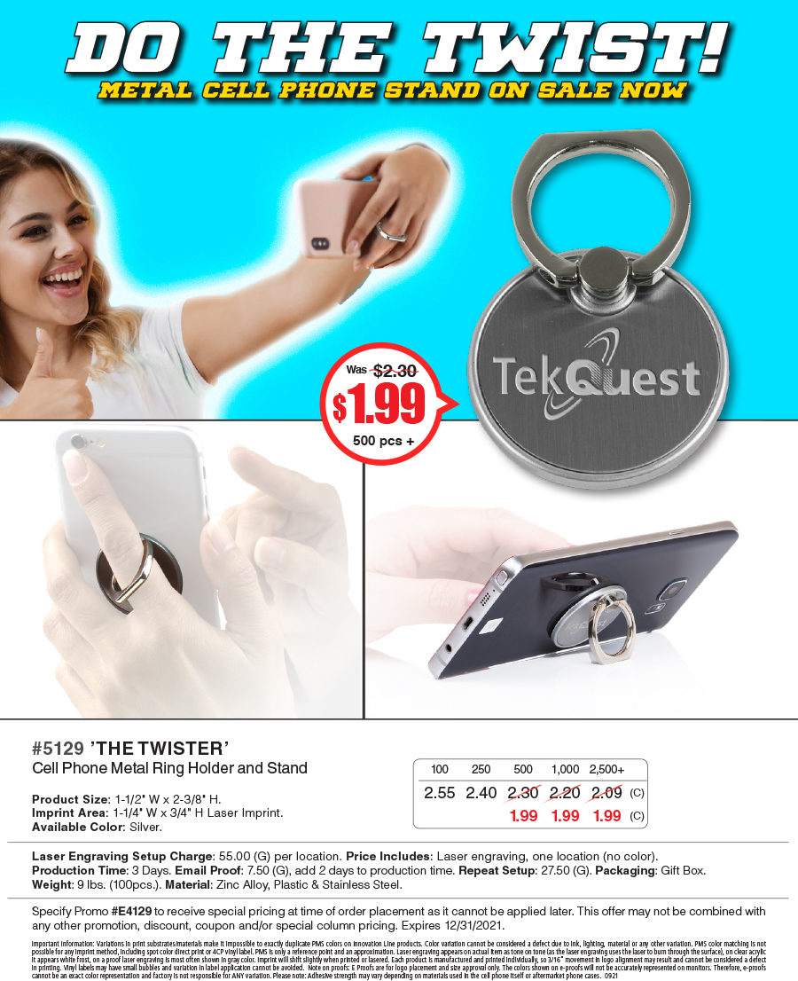 5129 The Twister - Cell Phone Metal Ring Holder and Stand