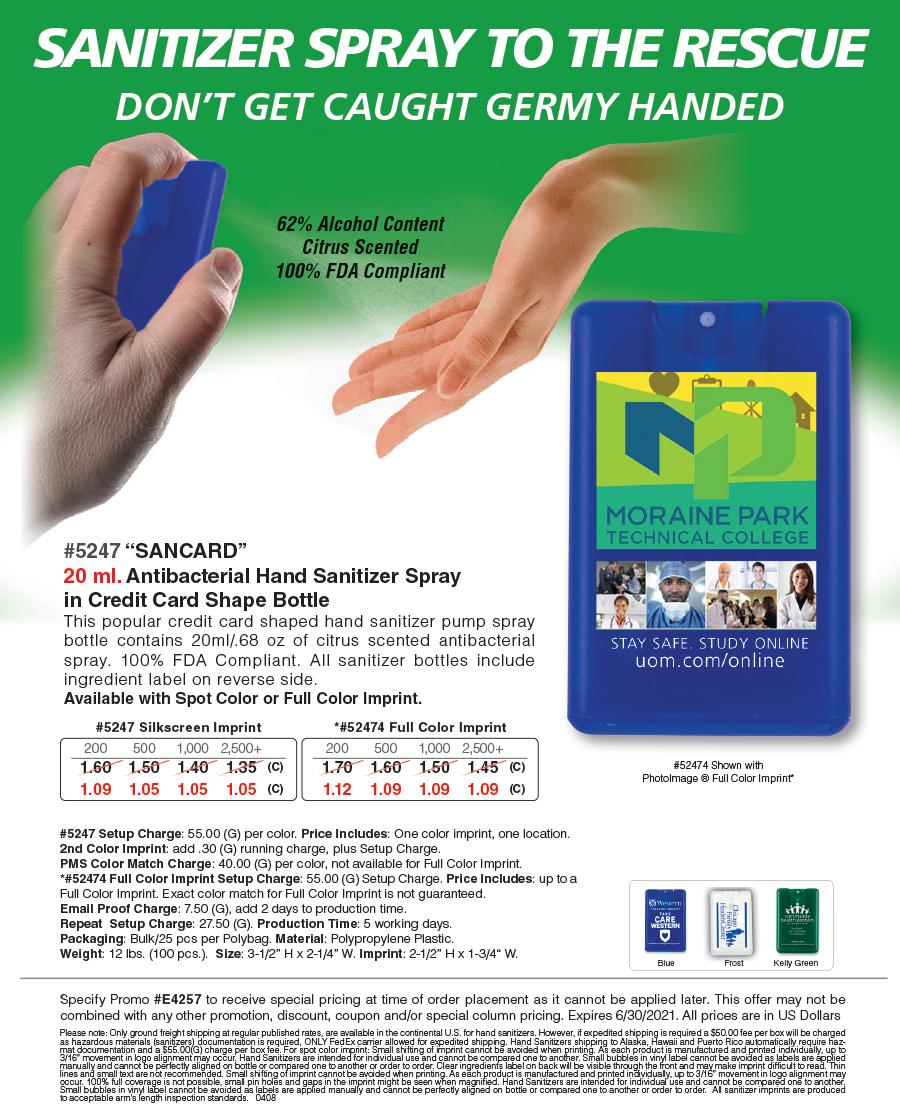 5247 52474 Antibacterial Hand Sanitizer Spray in Credit Card Shape Bottle