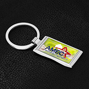 """Geo D"" Economy Metal Keyholder with PhotoImage ® Full Color Domed Imprint*"