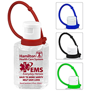 2 oz Hand Sanitizer Antibacterial Gel with Colorful Silicone Carry Leash (Spot Color Print)