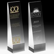 """2253S (Screen Print), 2253L (Laser) - Angeled Obelisk Award - 9"""""""