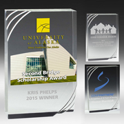 """2310-1S (Screen Print), 2310-1L (Laser), 2310-1P (4Color Process) - 1 1/4"""" Thick Freestanding Acrylic Awards - 6"""""""