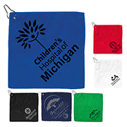 """The Wedge"" 300GSM Heavy Duty Microfiber Golf Towel with Metal Grommet and Clip 12"" x 12"""