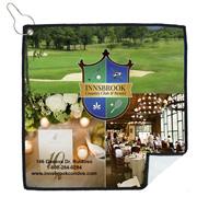"""Tee Off"" PhotoImage ® Full Color Imprint Suede Golf Towel"