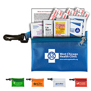 """Lyon"" 10 Piece First Aid Sun Kit Components inserted into Translucent Zipper Pouch with Plastic Carabiner Attachment"