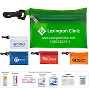 """Lyon Plus"" 11 Piece First Aid Sun Kit Components inserted into Translucent Zipper Pouch with Plastic Carabiner Attachment"