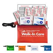 """Parkway"" 7 Piece First Aid Kit Components inserted into Translucent Zipper Pouch with Plastic Carabiner Attachment"
