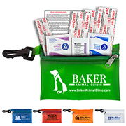 """""""Parkway Plus"""" 8 Piece Healthy Living Pack Components inserted into Translucent Zipper Pouch with Plastic Carabiner Attachment"""