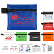 """Tag-a-Long XL"" 9 Piece First Aid Kit Components inserted into Zipper Pouch"