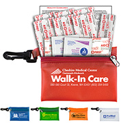 """Troutdale"" 13 Piece First Aid Kit Components inserted into Translucent Zipper Pouch with Plastic Carabiner Attachment"