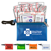"""Troutdale Plus"" 14 Piece First Aid Kit Components inserted into Translucent Zipper Pouch with Plastic Carabiner Attachment"