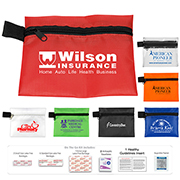"""Riverside XL"" 15 Piece First Aid Kit Components inserted into Zipper Pouch"