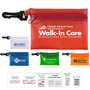 """Troutdale XL"" 15 Piece First Aid Kit Components inserted into Translucent Zipper Pouch with Plastic Carabiner Attachment"