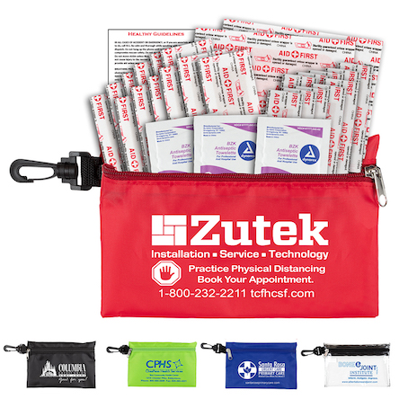 """""""All-You-Need"""" 28 Piece Multi-Bandage Healthy Living Pack in Supersized Zipper Pouch Components inserted into Zipper Pouch with Plastic Carabiner Attachment PLUS Antiseptic Towelettes"""