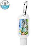 """Sunny Day L"" 2.0 oz Broad Spectrum SPF 30 Sunscreen Lotion in Solid White Carabiner Tottle"