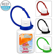 """SunFun Connect"" .5 oz Broad Spectrum SPF 30 Sunscreen Lotion In Solid White Flip-Top Squeeze Bottle with Colorful Silicone Leash"