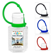 """SanPal Connect"" 1.0 oz Compact Hand Sanitizer Antibacterial Gel in Flip-Top Squeeze Bottle with Colorful Silicone Leash"