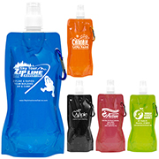 """""""Roll Up"""" 18 oz Foldable and Reusable Water Bottle with Matching Carabiner (Patent D644,123)"""