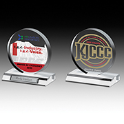 "7504-2S (Screen Print), 7504-2L (Laser), 7504-2P (4Color Process) - Clear Circle Award - 5"" Dia"