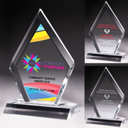 """7512S (Screen Print), 7512L (Laser), 7512P (4Color Process) - Multi-Faceted Acrylic Award - 5"""" x 8 3/4"""""""