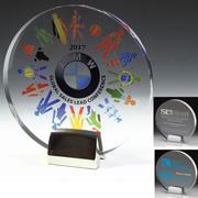 7548S (Screen Print), 7548L (Laser), 7548P (4Color Process) - Round Award w/Chrome Base
