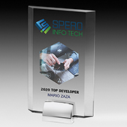 7549S (Screen Print), 7549L (Laser), 7549P (4Color Process) - Rectangular Beveled Award w/ Chrome Base