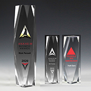 "7606-1S (Screen Print), 7606-1L (Laser), 7606-1P (4Color Process) - 2"" Thick Obelisk Acrylic Awards"
