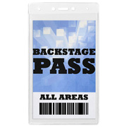 "Blank Clear Backstage Pass or Pit Pass Size Holder Fits 4"" X 7-1/4"" Insert (BLANK)"