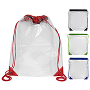 "13"" W x 16"" H - ""Everest"" Tall Clear Drawstring Cinch Pack Backpack"