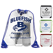"13"" W x 16"" H - 'Everest' Tall Clear Drawstring Cinch Pack Backpack"