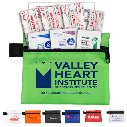 """""""Safe Helper"""" 8 Piece Hand Sanitizer Healthy Living Pack in Zipper Pouch Components inserted into Zipper Pouch"""