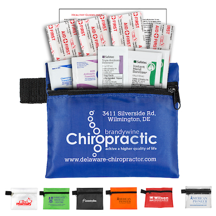 """""""Safety Zip"""" 10 Piece Hand Sanitizer Healthy Living Pack in Zipper Pouch Components inserted into Zipper Pouch"""
