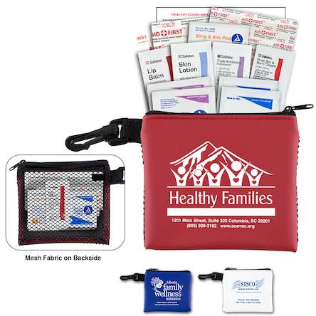 """Team Mom"" 21 Piece All Purpose Healthy Living Pack in Zipper Mesh Pouch Components inserted into Zipper Pouch"