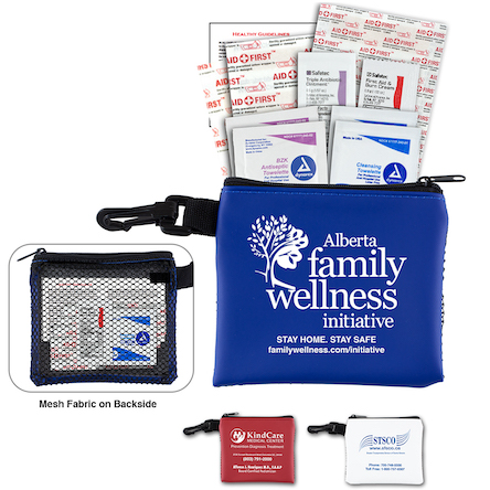 """Park Doc"" 16 Piece All Purpose Healthy Living Pack in Zipper Mesh Pouch Components inserted into Zipper Pouch"