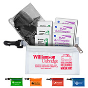 """Essential On The Go"" 7 Piece Wellness Kit in Translucent Zipper Pouch with Plastic Carabiner Attachment"