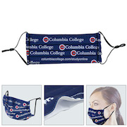 """""""Perfect Fit"""" Face Mask – Pleated Full Color Sublimation Face Mask w/Flexible Nose Bridge Wire & Ear Loop Adjusters"""