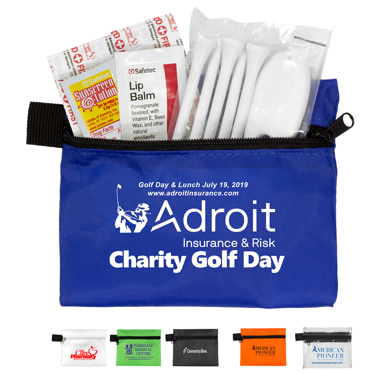 """""""Del Monte"""" 13 Piece Golf Kit Components inserted into Zipper Pouch"""
