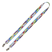 "3/4"" Width Dual Attachment Super Soft Polyester Multi-Color Sublimation Lanyard"