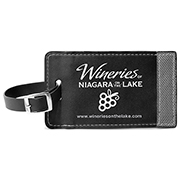 Two-Tone Leatherette Black and Gray ID Slip-In Luggage Bag Tag