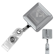 """Hamilton LZ"" 32"" Cord Square Chrome Solid Metal Retractable Badge Reel and Badge Holder with Laser Imprint"