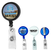"""Worthington VL"" 30"" Cord Round Jumbo Imprint Retractable Badge Reel and Badge Holder with Metal Slip Clip Attachment"