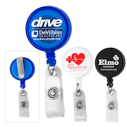"""""""Worthington VL"""" 30"""" Cord Round Jumbo Imprint Retractable Badge Reel and Badge Holder with Metal Slip Clip Attachment"""
