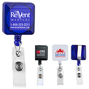 """Kent VL"" 30"" Cord Square Retractable Badge Reel and Badge Holder with Metal Slip Clip Attachment"