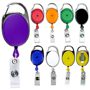 Blank Carabiner Style Retractable Badge Reel with Metal Slip Clip Back (Patent D539,122)