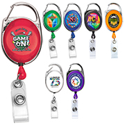 """Oberlin PI"" 30"" Cord PhotoImage ® Full Color Imprint* Retractable Carabiner Style Badge Reel and Badge Holder  (Patent D539,122)"