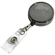 """Dublin Gunmetal LZ"" 30"" Cord Gunmetal Colored Solid Metal Retractable Badge Reel and Badge Holder with Laser Imprint"